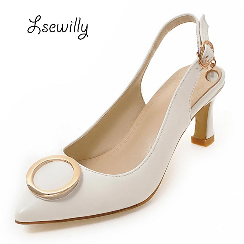 Lsewily 2017 New Summer High Heel Sandals Sexy Pointed toe Brand Shoes Fashion Womens Sandals Pumps Woman Thick Heels SS796 plus size 2017 new summer suede women shoes pointed toe high heels sandals woman work shoes fashion flowers womens heels pumps