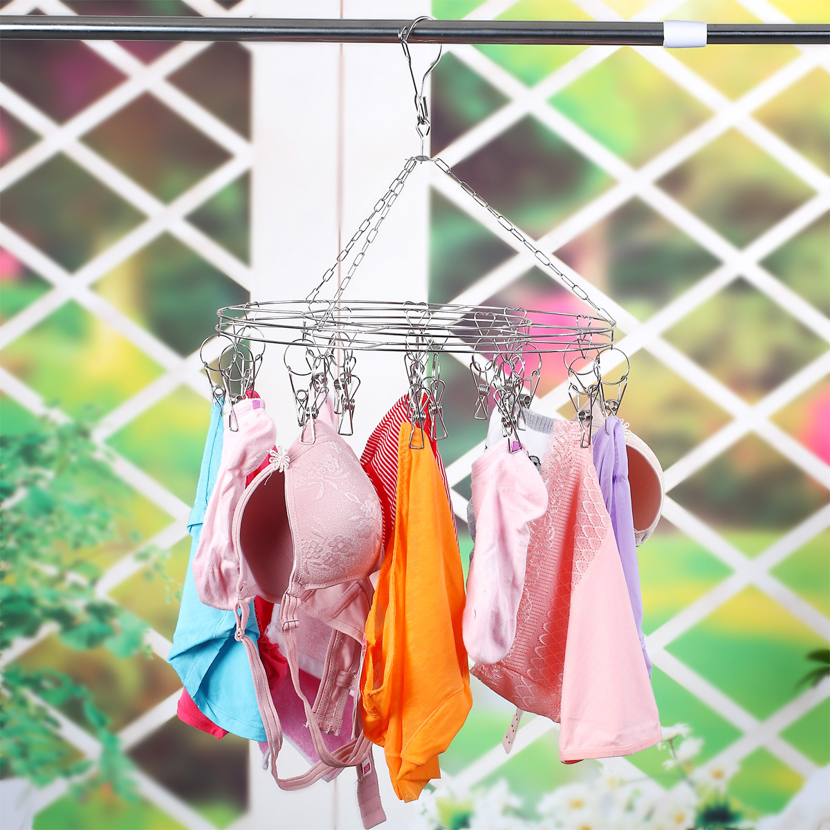 Laundry Clothesline Hanging Rack for Drying Clothing Set of 16 Clips Stainless Steel Clothespins Round in Drying Racks Nets from Home Garden