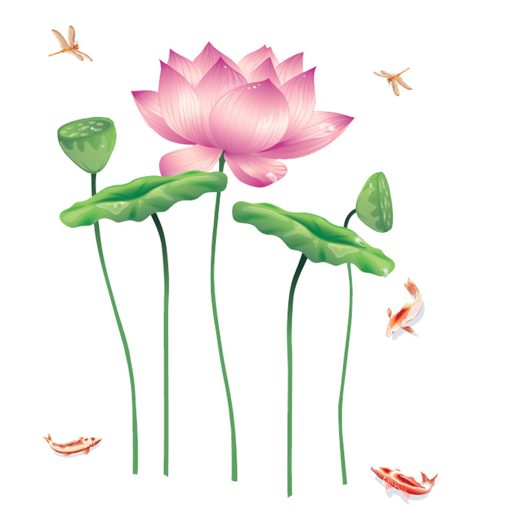 6090cm chinese lotus flower wall sticker 0263 decals removable 6090cm chinese lotus flower wall sticker 0263 decals removable china plants vinyl mural wallpaper diy livingroom decoration in wall stickers from home izmirmasajfo