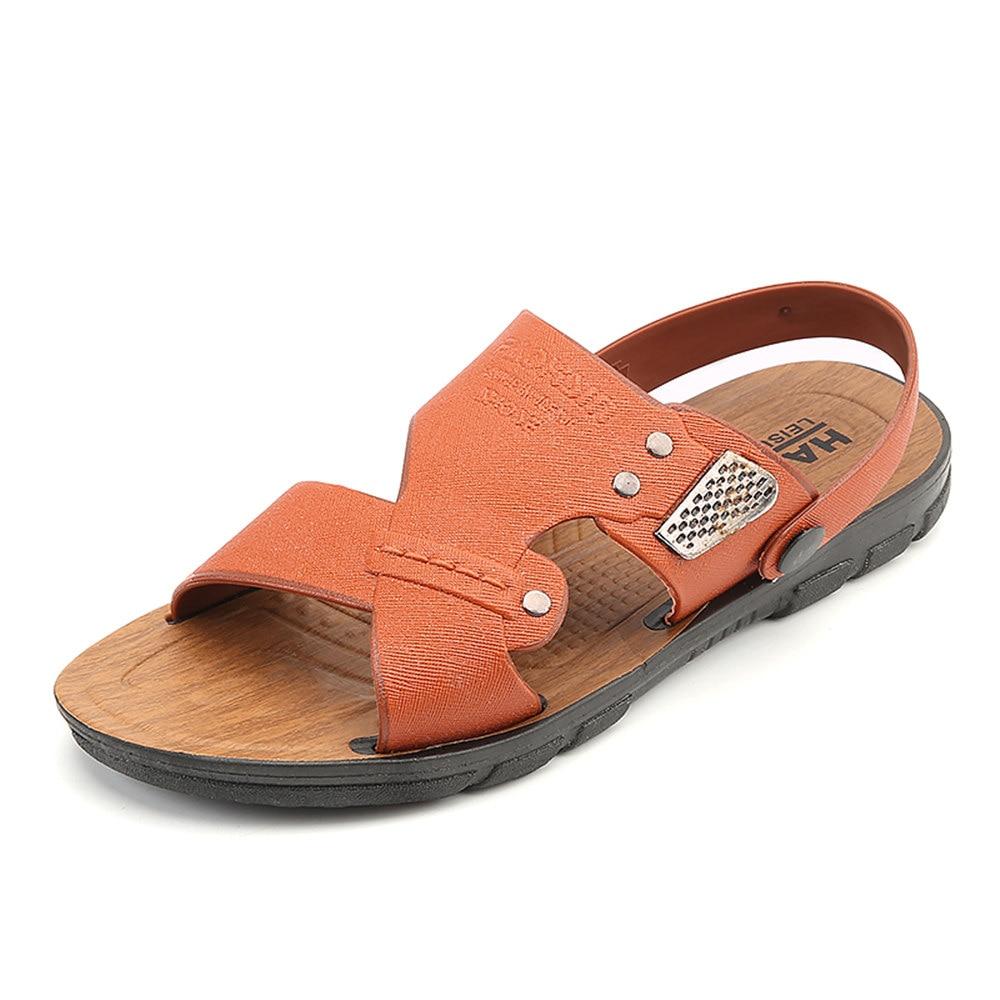 New 2016 Summer Men Sandals Leather Fashion Vintage Flat ...