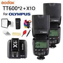цена на 2X Godox TT600 Camera Flash With GN60 2.4G Wireless TTL HSS Flash Speedlite + X1T-O Transmitter Trigger for Olympus +gift