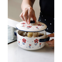 6 inch soup bowl with lid double handgrip hand painted ceramic floral under glazed creative desserts ramen bowls 520ml