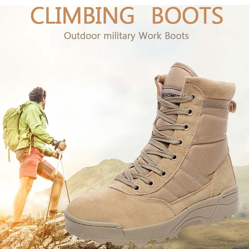 71767b1c6a2 New exhibition military Work boots men Desert Tactical Martin army boots  Outdoor Hiking Shoes Travel Leather High Boot Male39-44