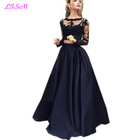 LISM Two Pieces Prom Dress Scoop Long Sleeves Satin Evening Gown A Line Lace Appliques Top Graduation Dresses robe de gala