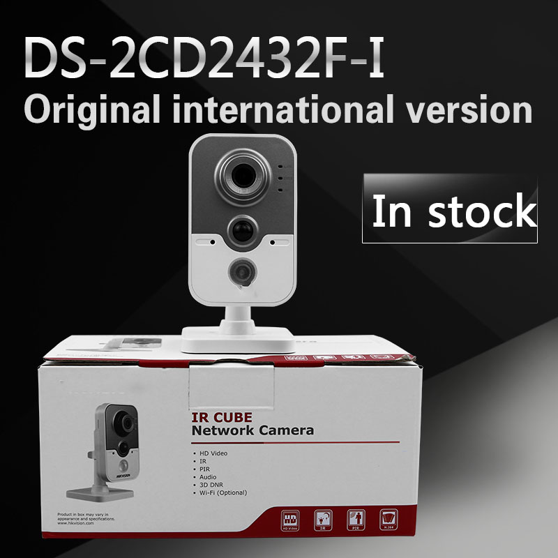free shipping with DHL camera DS-2CD2432F-I,3MP IR Cube Network Camera Up to 10m IR,PIR, Network IP camera