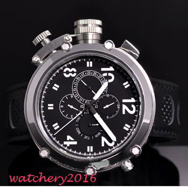 50mm parnis Black Dial Chronograph Militær Mekaniske ure Herre Watch - Mænds ure - Foto 2