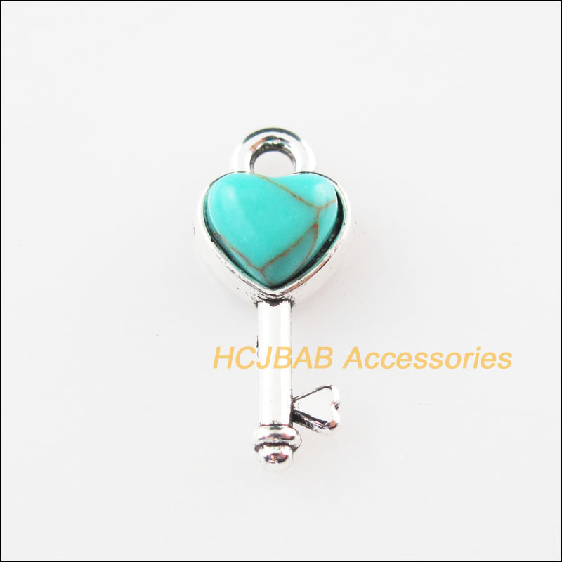 15 New Tiny Heart Key Charms Stone Tibetan Silver Pendants Retro 7x16mm(China)