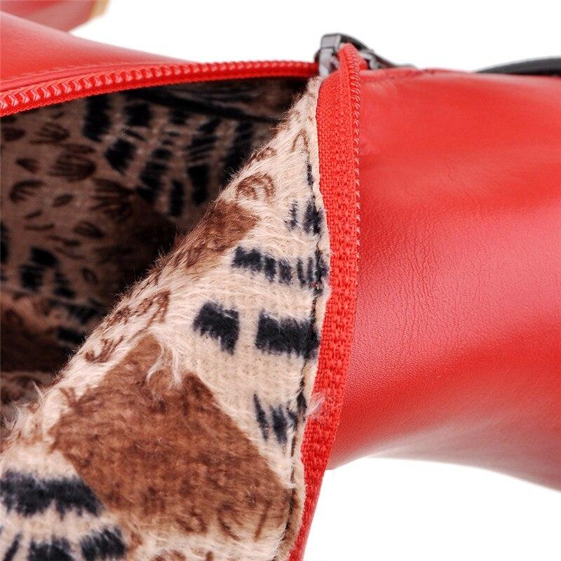Noir Blanc Talons 43 La Bottes Rouge D'hiver En Femme Haute Noir Décoration Cheville rouge Chelsea Sexy Martin Taille 33 Plus Métal blanc Cocoafoal n6qw7Wx7