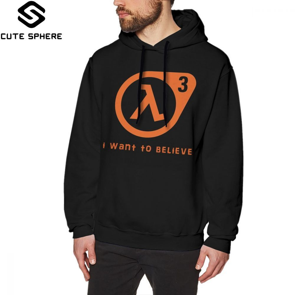 Half Life Hoodie Half Life 3 I Want To Believe Hoodies Loose Over Size Pullover Hoodie Long Length Cotton Nice Mens Grey Hoodies
