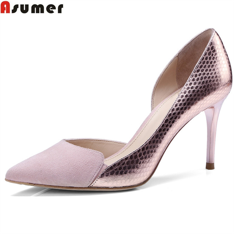 ASUMER black pink thin heel 8cm pointed toe shallow elegant wedding shoes woman spring autumn women genuine leather shoesASUMER black pink thin heel 8cm pointed toe shallow elegant wedding shoes woman spring autumn women genuine leather shoes