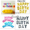Hot Sale13pcs Lot Pink Blue Letter Happy Birthday BALLOON Aluminum Foil Balloon Baby Birthday Decoration Alphabet