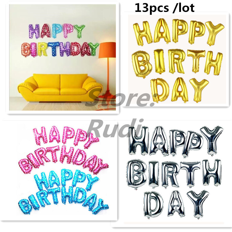 Hot sale13pcs/lot Pink blue Letter Happy Birthday BALLOON aluminum foil balloon