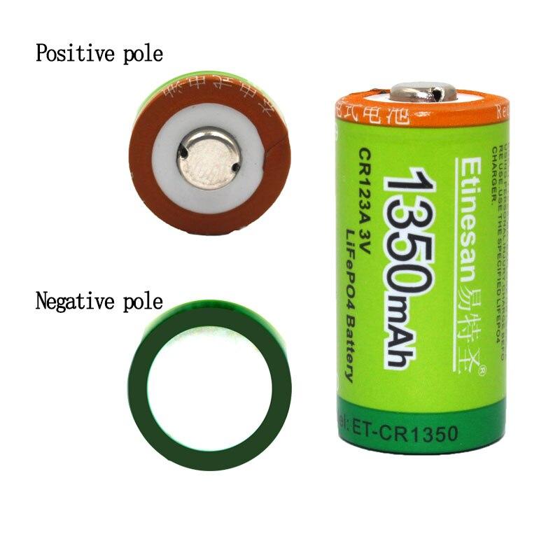2 pcs/lot Etinesan 1350mah Cr123a 3V LiFePO4 batterie rechargeable au lithium cr123a 3.0v 16340 batterie de lampe de poche