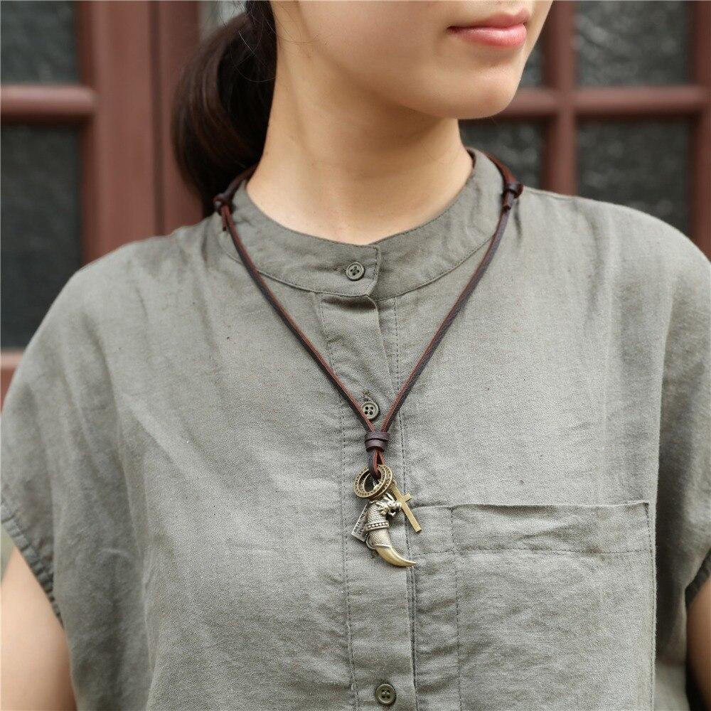 Mens necklace Dragon Dagger Pendant Punk Women Jewelry Statement Necklaces /& Pendants Kolye Vintage Long Leather Necklace Collier Femme