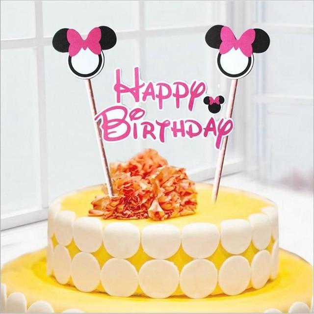 30set Mickey Minnie Happy Birthday Letters Cake Topper Picks Kt