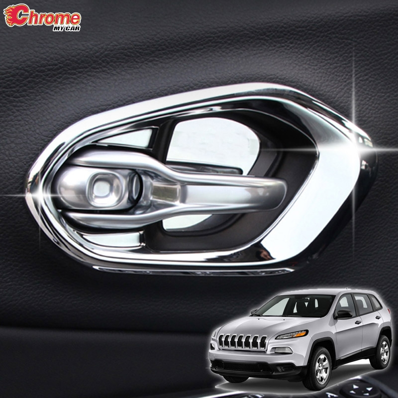 For Jeep Cherokee KL Inside Side Door Handle Bowl Chrome Cover Trim 2014 2015 2016 2017 2018 2019 Car Styling Decoration Sticker