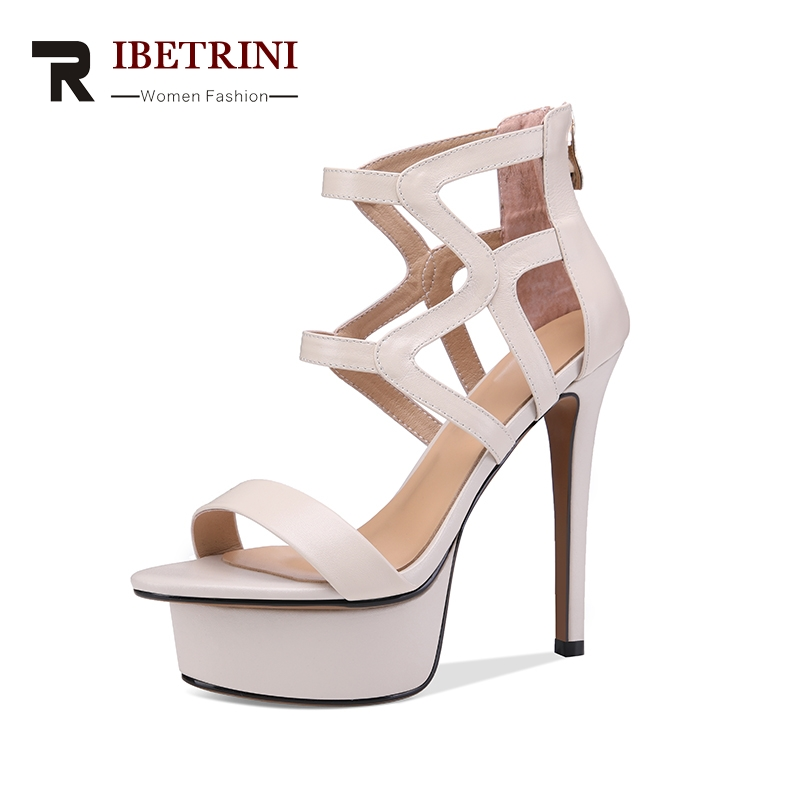 RIBETRINI Brand New Genuine Leather Size 33-40 Platform Women Shoes Sexy Thin High Heels Party Woman Gladiator Sandals Shoes brand new qitong pu 13cm woman thin ultra heels platform lady sandals nightclub t walk woman shoes high heeled sexy party shoes