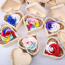Heart Shape Storage Box Wood Jewelry Box Wedding Gift Makeup Cosmetic Earrings Ring Desk Rangement Wooden Organizer round wooden wedding ring jewelry trinket box wood storage container case holder
