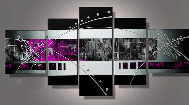 100% hand painted Abstract oil painting on canvas purple gray black ...