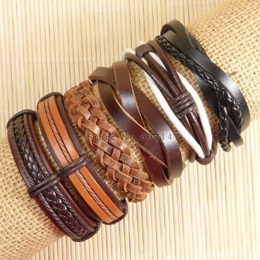 6pcs Handmade Punk Charms Men Braclet For Women Ethnic Tribal Wrap Black Bracelet & Bangle Femme Male Wristband Wrap Jewelry  4