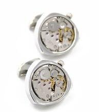 Горячие нефункциональные Часы Запонки сердечко серебряного цвета