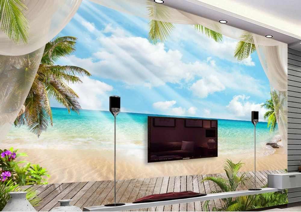 Papier peint 3d personnalisé paysage bleu ciel et nuages blancs papier peint 3d pour salon papier peint de luxe peinture à l'huile non tissée