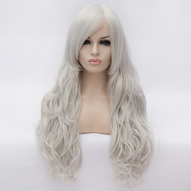 80CM Women s Big Wavy Cosplay Wig Silver White Long Synthetic Hair  Halloween Party Wigs Heat Resistant Costume Wigs ce348a958