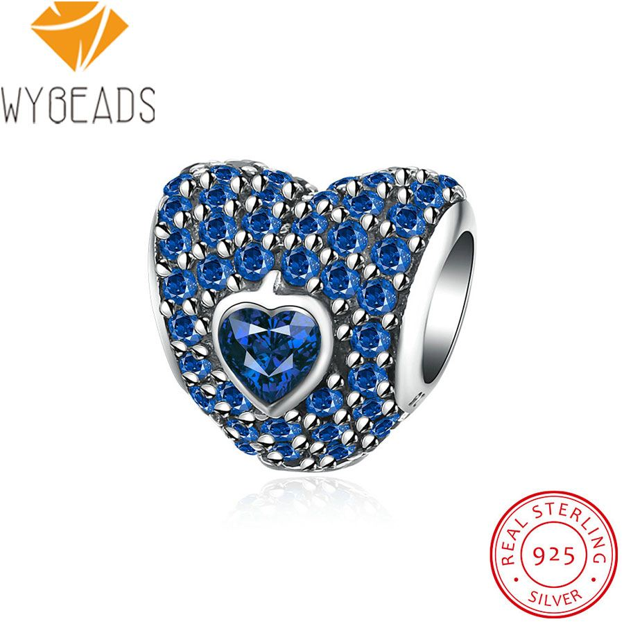 WYBEADS 925 Sterling Silver Dazzling Heart With Light Blue CZ Charms European Bead Fit Bracelet Bangle DIY Accessories Jewelry
