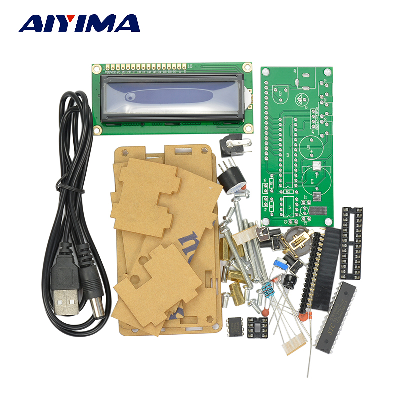 Aiyima 5V LCD1602 Multifunction Electronic Clock Suite Microcontroller 51 Production Diy Kits With Case diy with black case metal detector electronics suite electronic production of bulk production