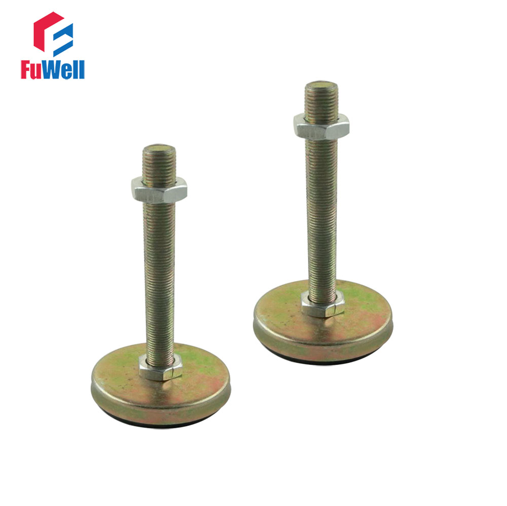 2pcs M12/M14/M16mm Thread Articulated Leveling Foot 62mm Base Adjustable Foot Cup with Antislip Pad for Furniture/Pipe Rack2pcs M12/M14/M16mm Thread Articulated Leveling Foot 62mm Base Adjustable Foot Cup with Antislip Pad for Furniture/Pipe Rack