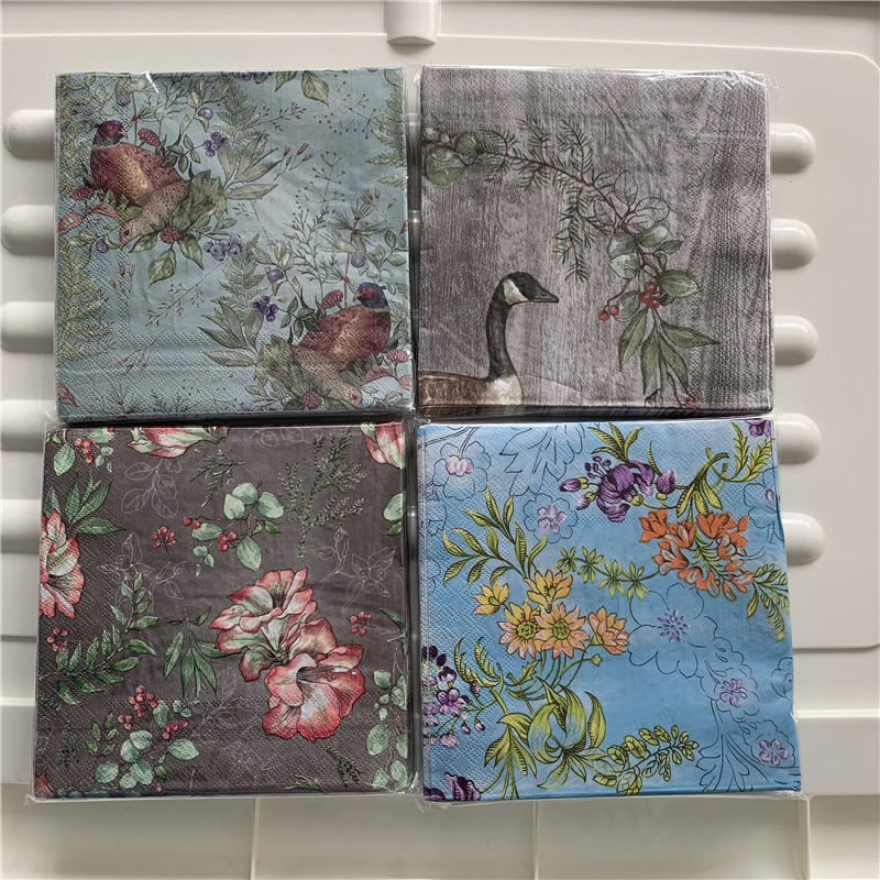 Decoupage Table Paper Napkins Elegant Tissue Vintage Bird Flower Birthday Wedding Party Home Beautiful Towel Decor 20