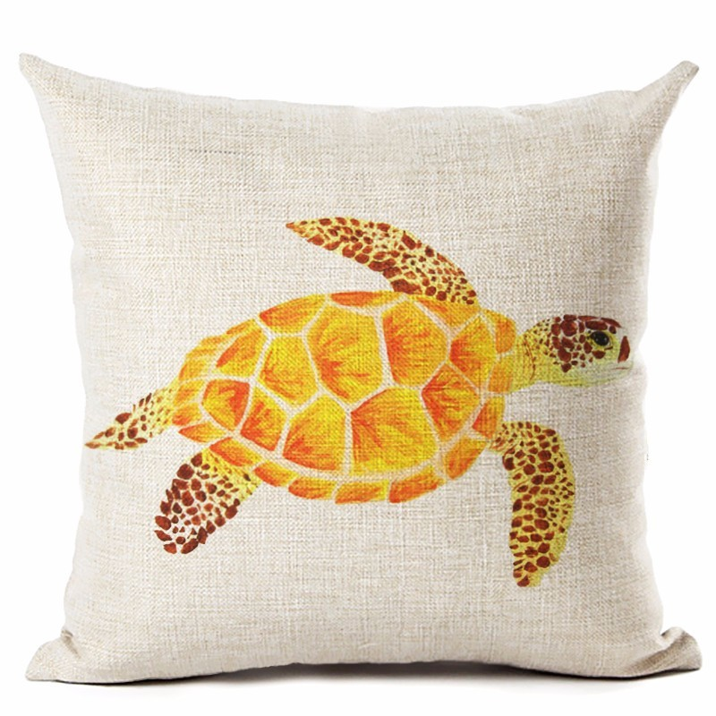 Image 5 - Watercolor Painting Ocean Cushion Cover Mediterranean Blue Sea Turtle Printed Linen Decorative Pillows Case Office Sofa Chiar-in Cushion Cover from Home & Garden