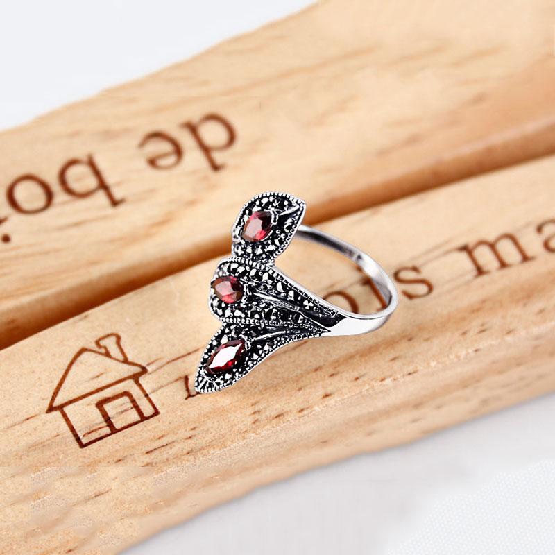 Bague grenat synthétique 925 argent Sterling anillos pierre rouge Punk mariage à la mode S925 Thai argent anneaux pour femmes bijoux - 3