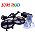 10m 3528 RGB Led Strip Light SMD 300Leds SMD Flexible Strips + 44 key ir Remote Controller +DC 5A 12V transformer WLED51