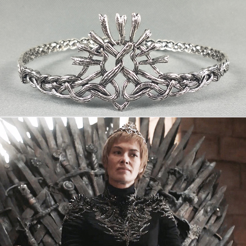 Game of Thrones Season7 Cersei Lannister Crown Hair Bands Cosplay White Silver Plated Vintage Headbands Wedding Hair Accessories