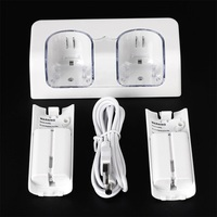 White Convenient Remote Control Charger Dock Docking Station With 2X 2800mAh Rechargeable Battery Packs For Wii