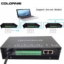 Controle dmx artnet led para luzes led, controlador de iluminação ws281 ws2811 artnet madrix