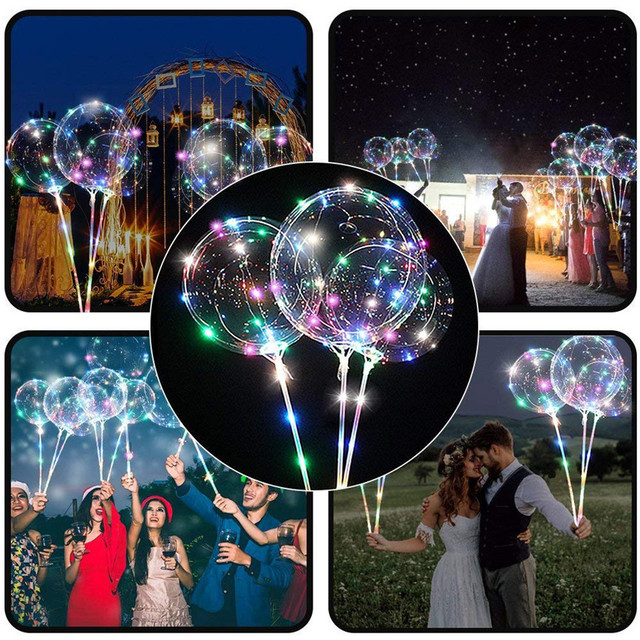 Reusable Luminous LED Balloon Transparent Round Bubble Decoration Party Wedding LED Bubble Balloon Christmas Gift+2xSticks Nov#3