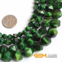 """Round Faceted Green Tiger Eyes Beads For Jewelry Making Strand 15"""" DIY Polygonal Bead For Bracelet Jewelry Gift Making 6mm-12mm"""