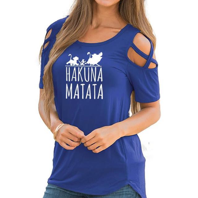 2018 חדש אופנה HAKUNA MATATA הדפסת נשים נשיות קצר שרוול כבוי כתף חולצות מקרית קיץ חולצות לאישה