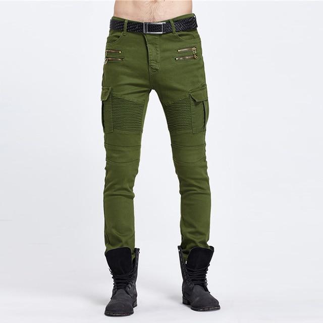 Negro de mezclilla 2017 bolsillos con Biker Cargo Casual hombres vaqueros laterales ajustados pantalones hombres Jeans 7O7nrqBS