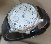 44mm PARNIS White dial Asian 6498 Mechanical Hand Wind movement men's watch Mechanical watches Black Leather Watchband 158