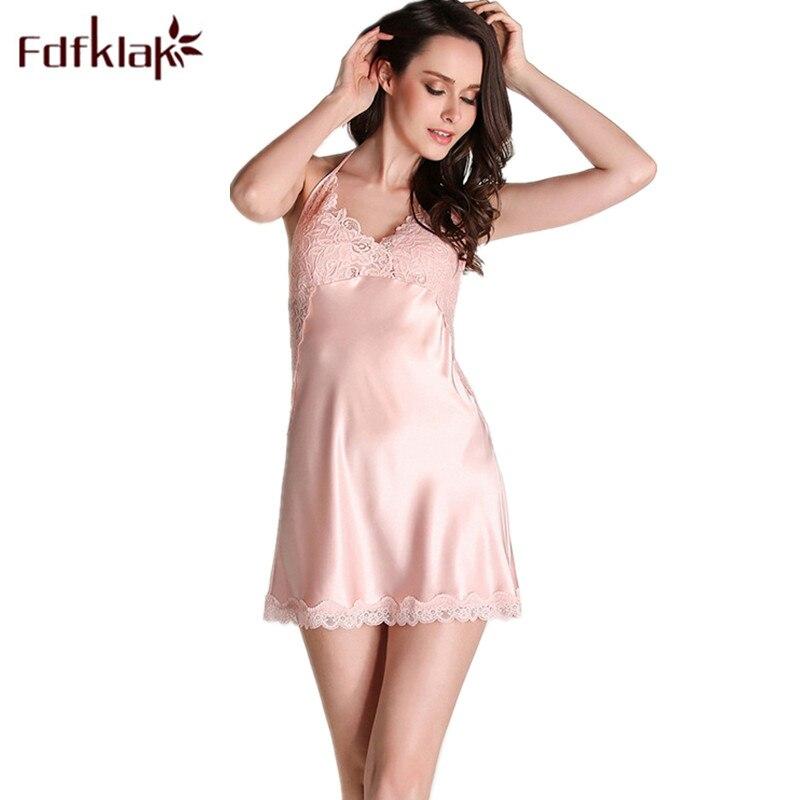 Fdfklak Women's Sexy Underwear Summer Sleeveless Silk Sleepwear Nightgowns Lingerie Night Gown Nightgowns Sleepshirts  Q657