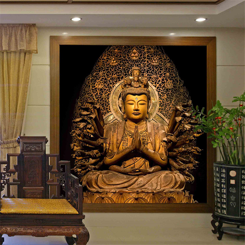 Golden buddha buddhist temple mural custom large living for 3d clay mural painting