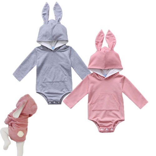 Infant Toddler Baby Girl Boys Hooded Sweatshirts Rabbit Ear Romper Cotton Bodysuit Hoodies