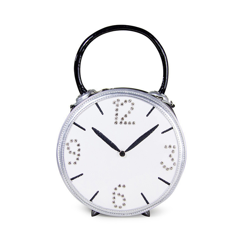 2017  Italy PU leather patchwork womenshoulder bag every creative personality game bagAlarm clock bag Free ShippingBarrel-shaped