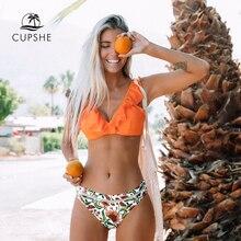 CUPSHE Conjunto de Bikini con volantes naranja para mujer, traje de baño Sexy de dos piezas con Fondo Floral, traje de baño para playa, bikinis 2020