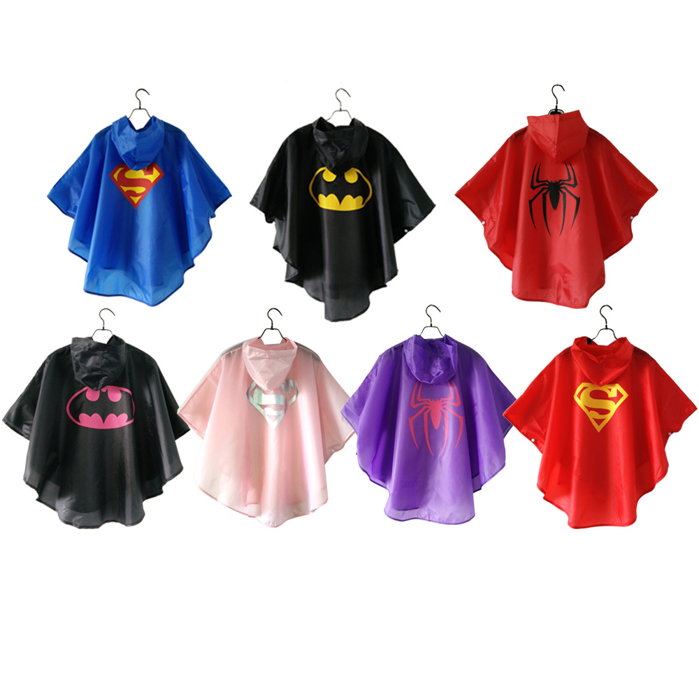 Baby kids superman batman spiderman boys girls raincoat for children school bicycle rainwear Waterproof superhero rainsuit