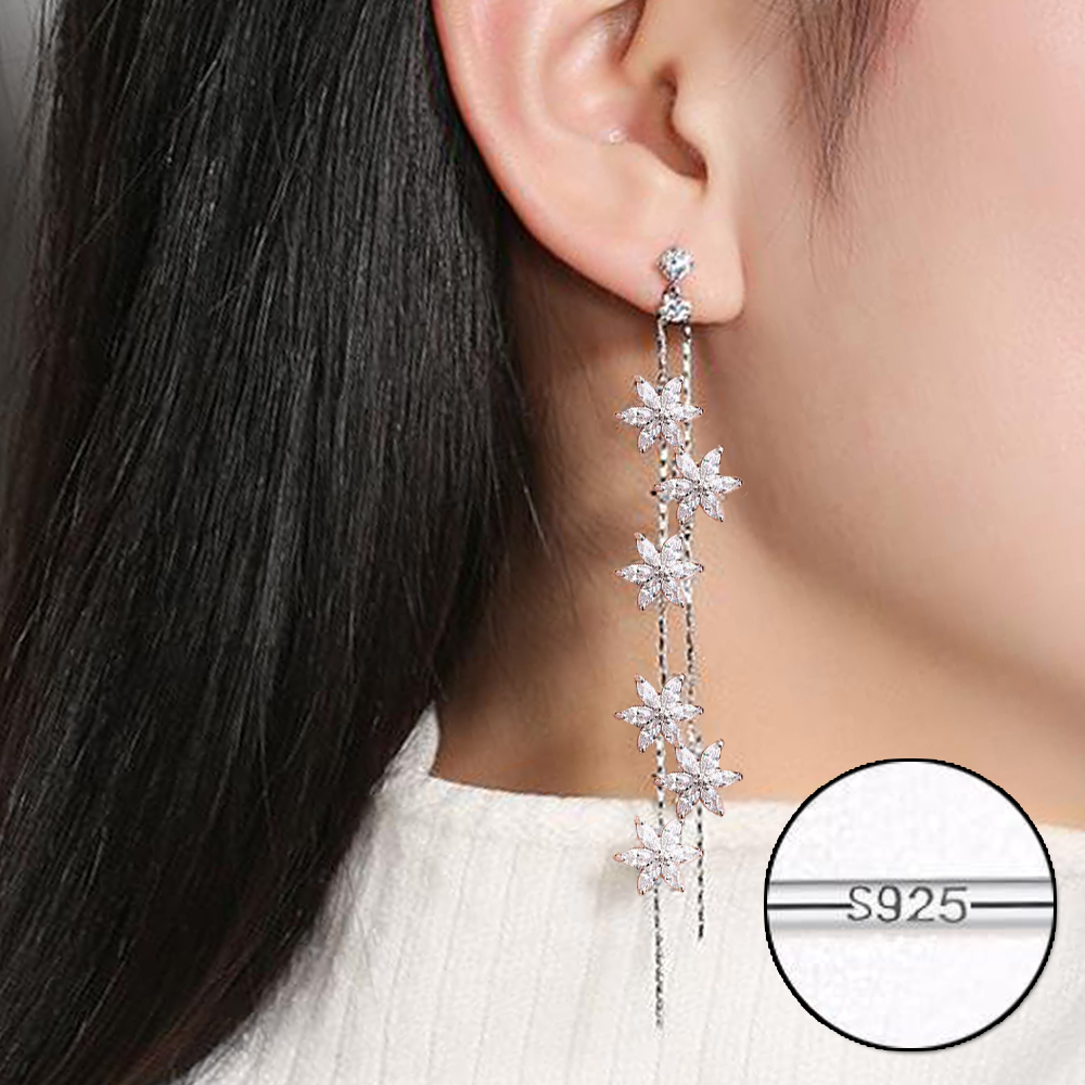 Tassel Rose Petal Cubic Zirconia Drop Earrings Long Chain Tassel Dangle Earrings Women Pave CZ Charm Jewelry