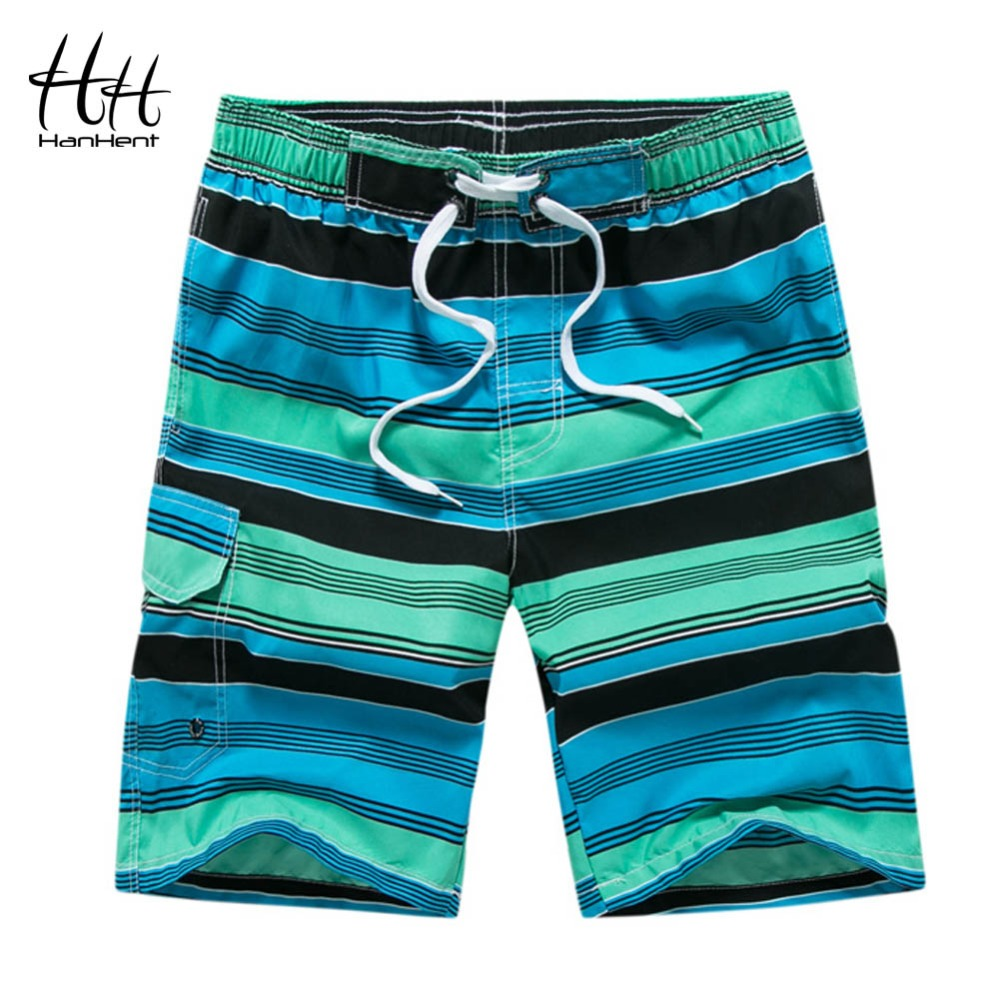 HanHent 2018 New Male Striped Thin   Shorts   Hot Beach   Shorts   Men Printed Casual Holiday Straight Pants Fitness Summer   Board     Shorts